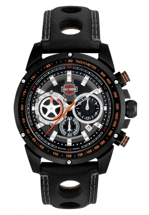 BULOVA Harley-Davidson® Mens Black Chronograph Bulova Watch 42mm