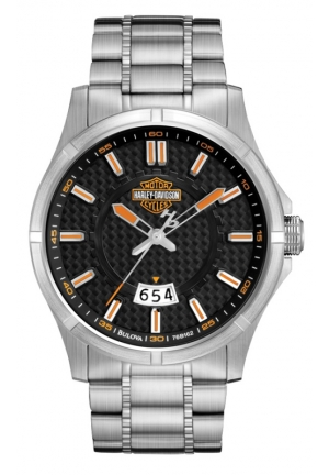BULOVA Harley-Davidson Men's Bulova Stainless Steel Bracelet Date Watch 44mm