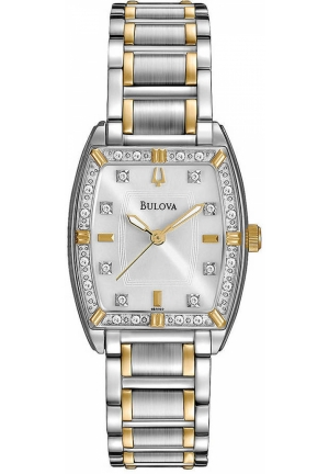BULOVA Ladies' Two-Tone Silver & Gold Stainless Steel Quartz Watch 24mm x 7mm