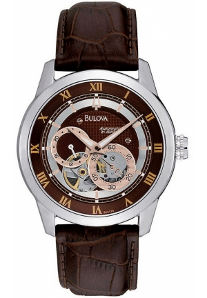BULOVA Men's Automatic Brown Leather Strap 42mm