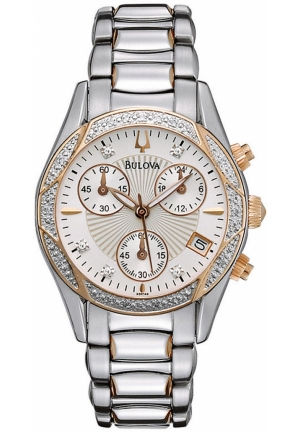BULOVA Women's Chronograph Diamond Two Tone Stainless Steel Bracelet 32mm
