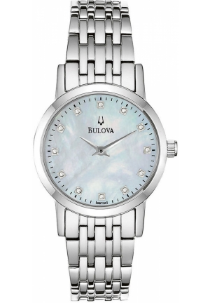 BULOVA Women's Diamond Accent Stainless Steel Bracelet 27mm
