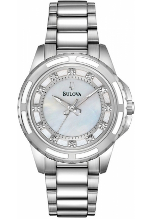 BULOVA Women's Diamond Accent Stainless Steel Bracelet 32mm