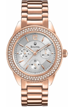 BULOVA Women's Rose Gold-Tone Stainless Steel Bracelet 38mm