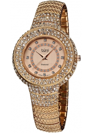 Burgi Women's Diamond Accent Crystal Fashion Watch