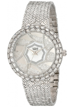 Burgi Women's Stainless Steel Watch with Textured Link Bracelet