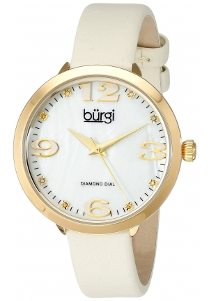 Burgi Women's Analog Display Japanese Quartz Beige Watch