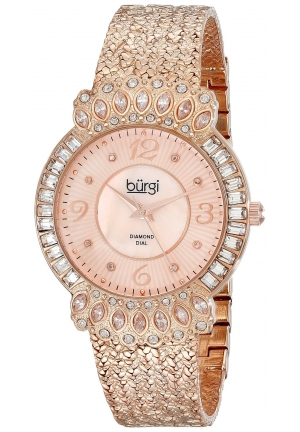 Burgi Women's Rose Gold-Tone Watch with Textured Bracelet