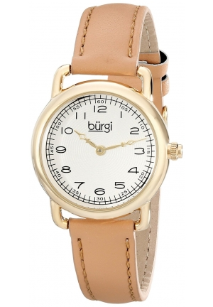 Burgi Women's Gold-Tone Watch with Genuine Leather Strap
