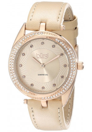 Burgi Women's Crystal and Diamond-Accented Gold-Tone Watch