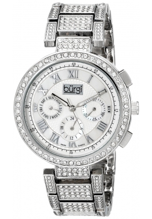Burgi Women's Analog Display Swiss Quartz Silver Watch