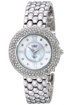 Burgi Women's Crystal and Diamond-Accented Stainless Steel Watch