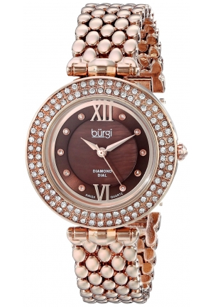 Burgi Women's Diamond & Crystal Accented Mother-of-Pearl Swiss Quartz Rose Gold Bracelet Watch