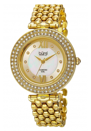 Burgi Women's Diamond & Crystal Accented Mother-of-Pearl Swiss Quartz Yellow Gold Bracelet Watch