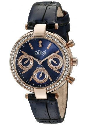 Burgi Women's Analog Display Swiss Quartz Blue Watch