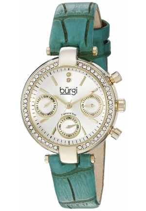 Burgi Women's Analog Display Swiss Quartz Green Watch