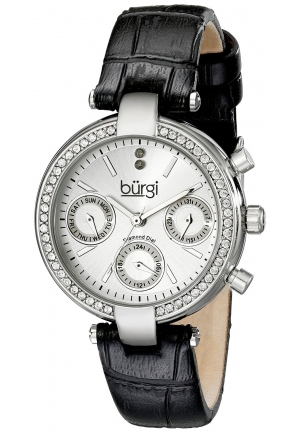 Burgi Women's Analog Display Swiss Quartz Black Watch