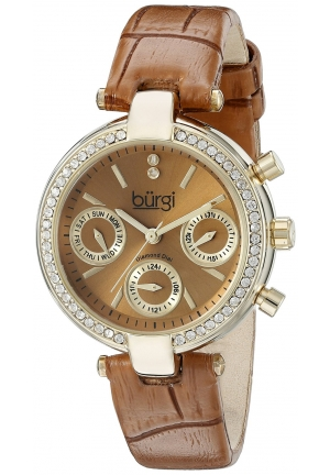 Burgi Women's Analog Display Swiss Quartz Brown Watch