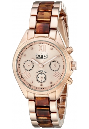 Burgi Women's Analog Display Swiss Quartz Two Tone Watch