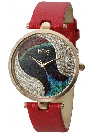 Burgi Women's Analog Display Swiss Quartz Red Watch