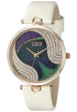 Burgi Women's Analog Display Swiss Quartz Beige Watch