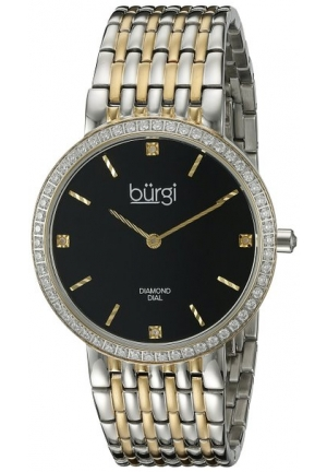 Burgi Women's Round Black Dial Two Hand Quartz Staniless Steel Bracelet Watch