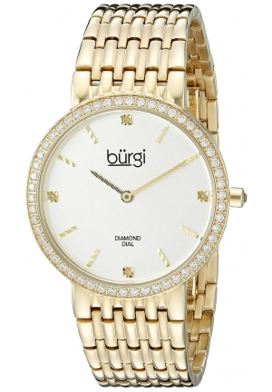Burgi Women's Round White Dial Two Hand Quartz Gold Tone Bracelet Watch