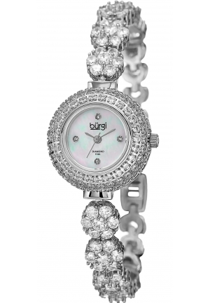Burgi Women's Silver-Tone Crystal Bracelet Watch with Diamond Accents