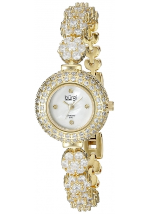 Burgi Women's  Round White Mother of Pearl Dial Three Hand Quartz Movement Gold Tone Bracelet Watch
