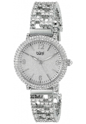 Burgi Women's Round Silver Dial Three Hand Quartz Bracelet Watch