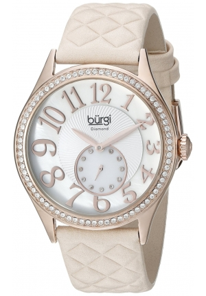 Burgi Women's Silver-Tone Watch with Quilted-Leather Band