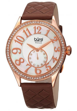 Burgi Women's Round White Mother of Pearl and Silver Dial with Embossed Swirled Center Small Seconds Quartz Strap Watch