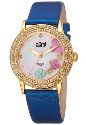 Burgi Women's BUR142BU Round White Mother of Pearl Dial Three Hand Quartz Gold Tone Strap Watch