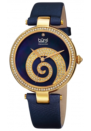 Burgi Women's Round Blue Mother of Pearl and Yellow Gold Dial with Swarovski Crystals Quartz Movement Satin Strap Watch