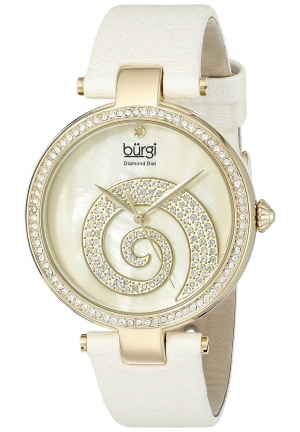 Burgi Women's Round Cream Mother of Pearl and Yellow Gold Dial with Swarovski Crystals Quartz Movement Satin Strap Watch