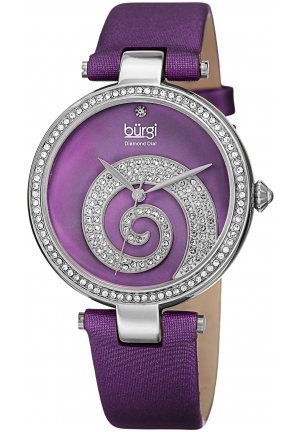 Burgi Women's Round Purple Mother of Pearl and Silver Dial with Swarovski Crystals Quartz Movement Satin Strap Watch
