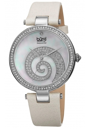 Burgi Women's  Round White Mother of Pearl and Silver Dial with Swarovski Crystals Quartz Movement Satin Strap Watch