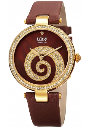 Burgi Women's  Round Brown Mother of Pear and Yellow Gold Dial with Swarovski Crystals Quartz Movement Satin Strap Watch