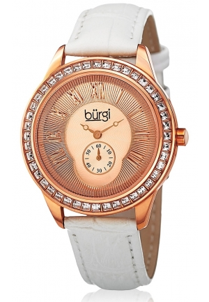 Burgi Women's Round Rose Gold Dial Two Hand Quartz Rose Gold Tone Strap Watch