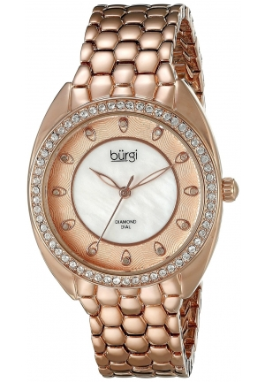 Burgi Women's Round White Mother of Pearl and Rose gold Dial Three Hand Quartz Bracelet Watch
