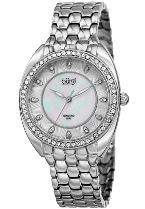 Burgi Women's Round White Mother of Pearl and White Dial Three Hand Quartz Bracelet Watch