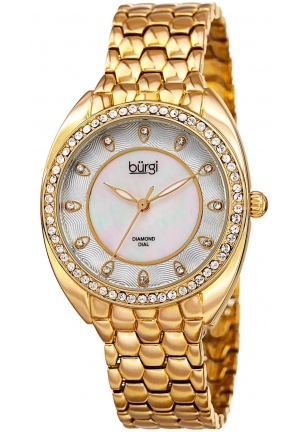 Burgi Women's Round White Mother of Pearl and White Dial