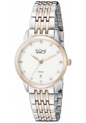 Burgi Women's Round Silver Dial Three Hand Quartz Two Tone Bracelet Watch