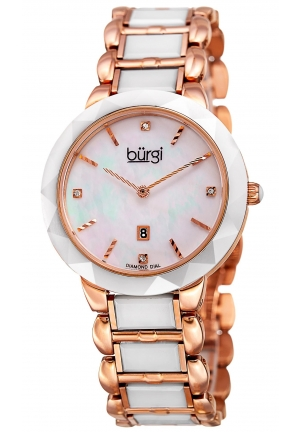 Burgi Women's Round White Dial Two Hand Quartz Stainless Steel Bracelet Watch