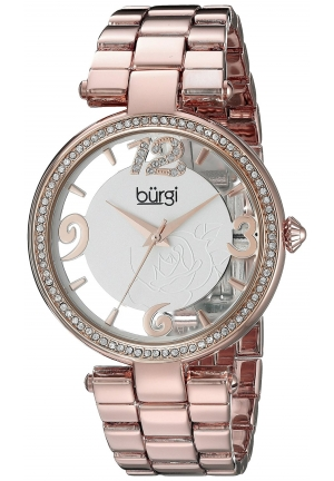 Burgi Women's Round Rose Gold and See Thru Dial Three Hand Quartz Bracelet Watch