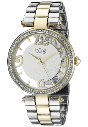 Burgi Women's Round Silver and See Thru Dial Three Hand Quartz Bracelet Watch