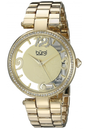 Burgi Women's Round Gold and White Dial Three Hand Quartz Bracelet Watch