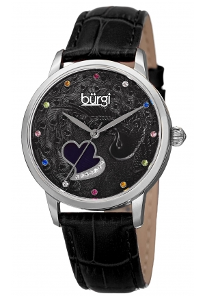 Burgi Women's Round Black Dial Three Hand Quartz Staniless Steel Strap Watch