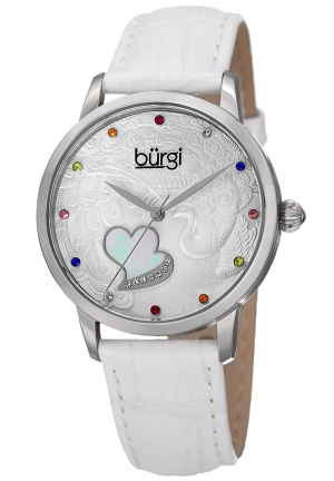 Burgi Women's Round Silver Dial Three Hand Quartz Staniless Steel Strap Watch