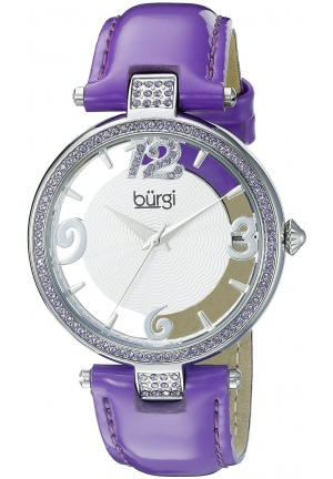 Burgi Women's Round Silver and See Thru Dial Three Hand Quartz Strap Watch